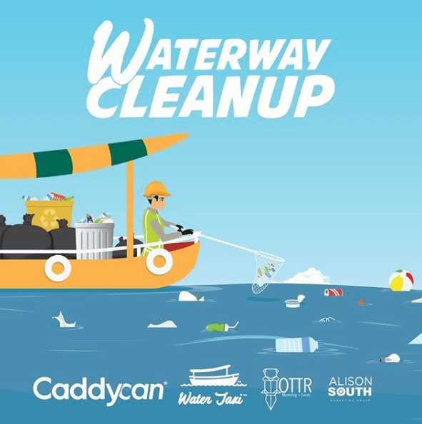 ocean cleanup with marine trash can
